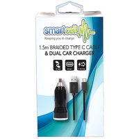 1.5m Braided Type C Cable & Dual Car Charger - Smartcell